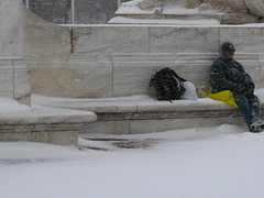 Homeless man in snow